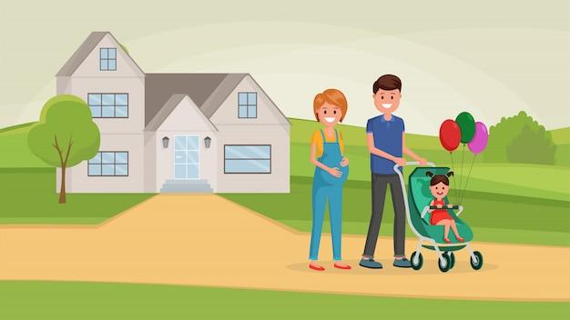 家の近くの家族 Premiumベクター