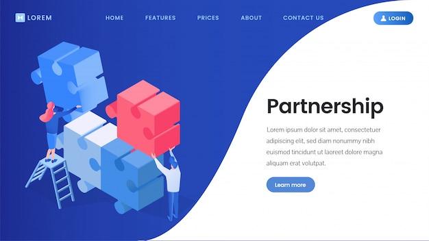 Партнерство, работа в команде изометрической целевой страницы Premium векторы