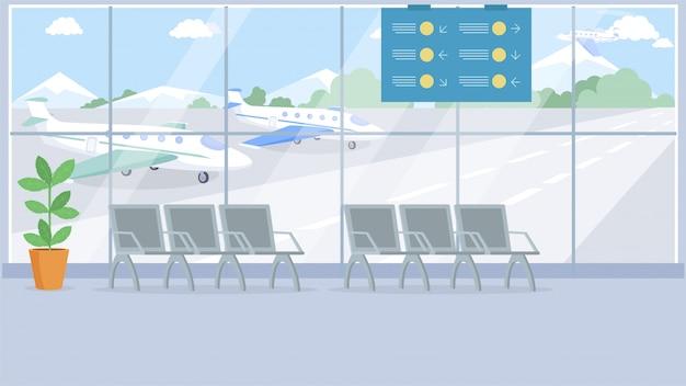 Пустой терминал аэропорта Premium векторы