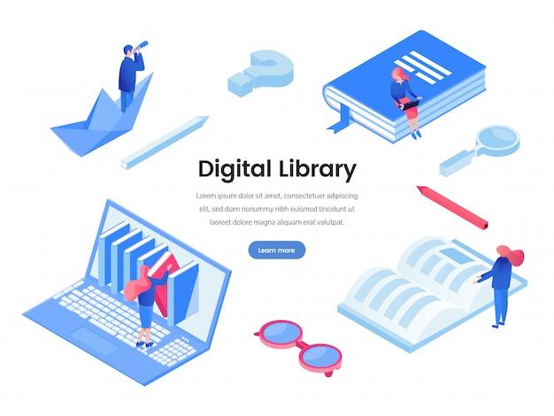 デジタル図書館のウェブバナーのテンプレート Premiumベクター