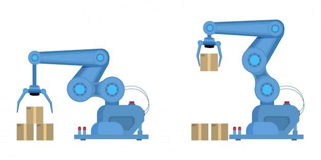 産業用ロボットアームフラット Premiumベクター