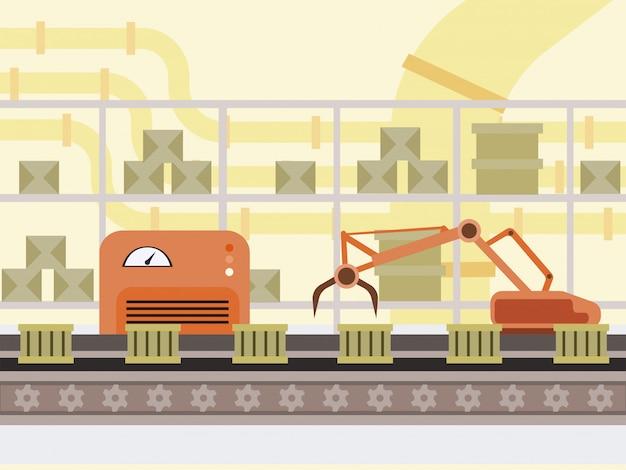 自動生産ラインの漫画イラスト。ファクトリーコンベアベルト、ロボットハンド現代自動車技術、スマート産業の箱。倉庫、郵便局のロボット化機器のカラー描画 Premiumベクター