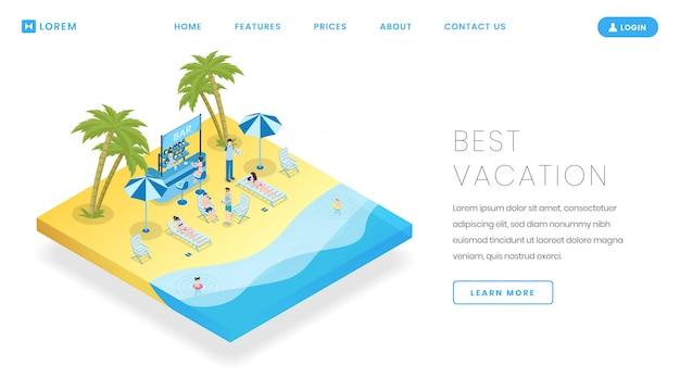 観光産業のランディングページベクトルテンプレート。等尺性のイラストと旅行局サービスのウェブサイトのホームページのインターフェイスのアイデア。 Premiumベクター