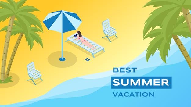Летние каникулы отдыха вектор шаблон. морской курорт, реклама курортного сезона Premium векторы