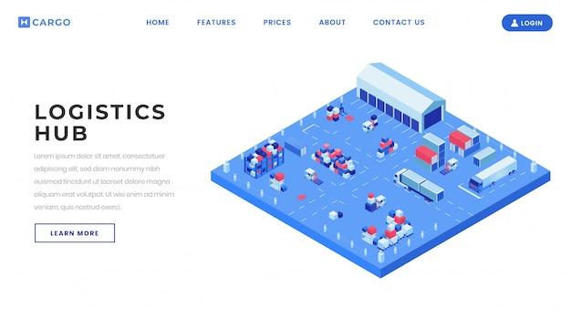 コンテナーヤードランディングページベクトルテンプレート。等尺性のイラストと配送物流センターのウェブサイトのホームページのインターフェイスのアイデア。 Premiumベクター