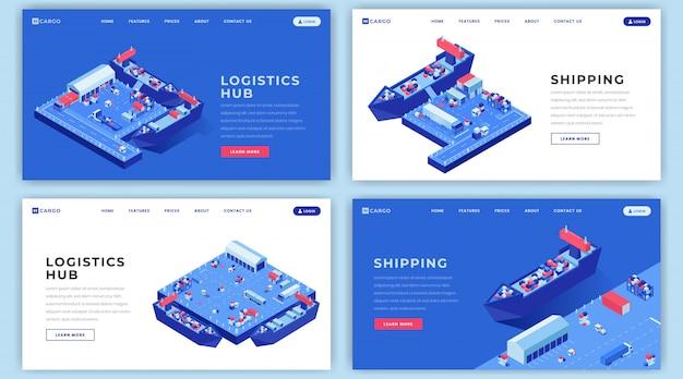海上積荷のランディングページのレイアウトセット。等尺性のイラストと配送物流ウェブサイトのホームページのインターフェイスのアイデア Premiumベクター