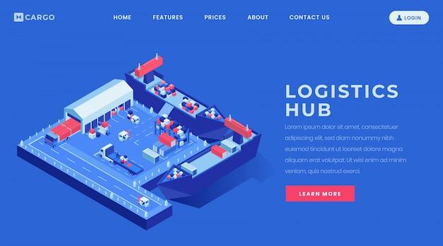 物流ハブランディングページベクトルテンプレート。等尺性のイラストと海上貨物業界のウェブサイトのホームページのインターフェイスのアイデア。 Premiumベクター