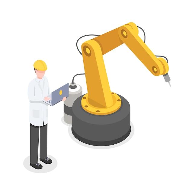 ロボットアームを手動で制御するコーダー、プログラマー。ロボティクス、サイバネティックス研究者開発 Premiumベクター