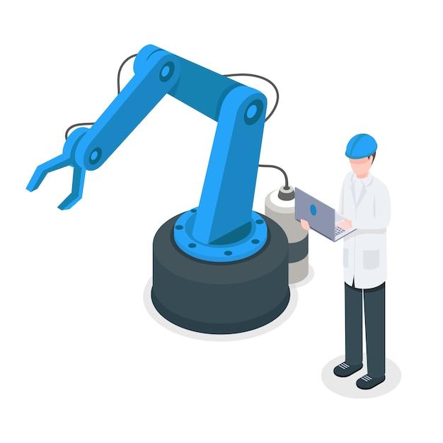 ロボット工場クレーンを制御するソフトウェアプログラマプログラム産業機械 Premiumベクター