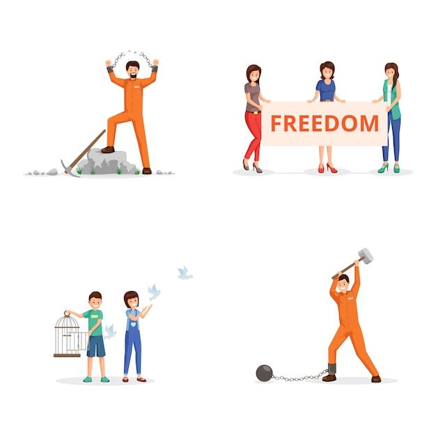自由のための戦いベクトルイラストセット。デモのプラカードを持つ女性活動家 Premiumベクター