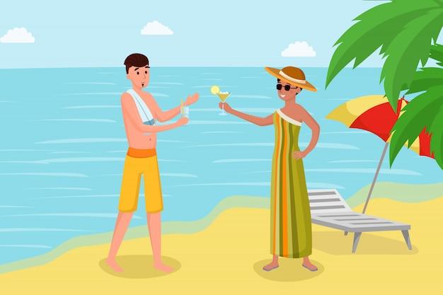 海岸のベクトル図に飲み物を楽しんでいます。熱帯の島の豪華な夏休み Premiumベクター