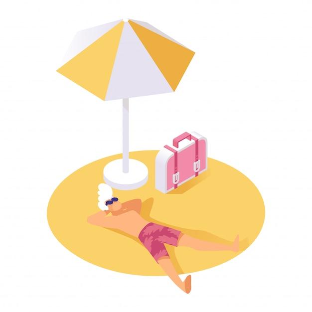 Парень отдыхает на песке изометрии векторные иллюстрации. отдыхающий отдыхает во время летних каникул, отпуска Premium векторы