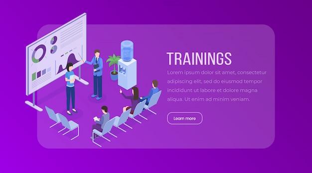 ビジネスプレゼンテーション、会議、セミナー、スタッフトレーニング、市場調査、統計、財務分析のウェブサイトのレイアウト。 Premiumベクター