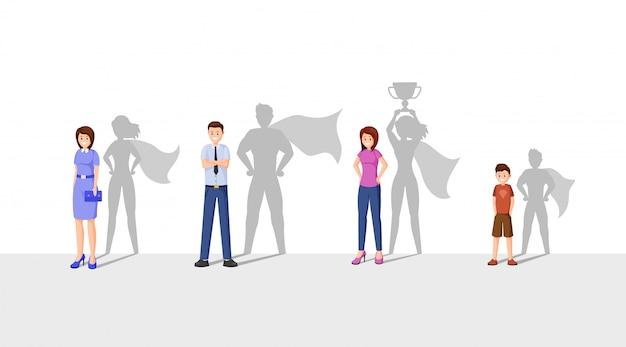 Счастливые люди с тенью супергероя Premium векторы