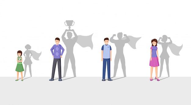Плоская иллюстрация чемпионов Premium векторы