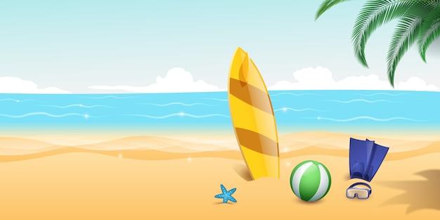 砂浜でのスキューバダイビングの足ひれ、シュノーケリングゴーグル Premiumベクター