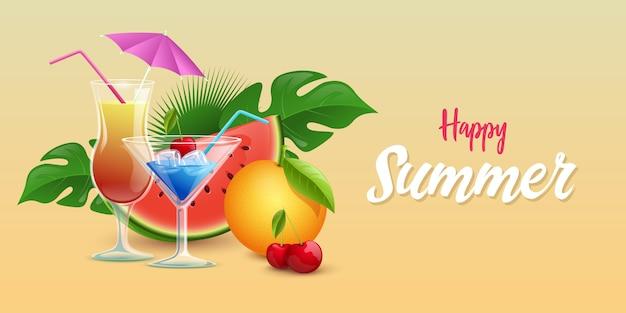 夏の飲み物バナーテンプレート Premiumベクター