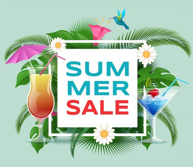 夏のカクテル販売バナーテンプレート。夏の爽やかな飲み物の割引オファー Premiumベクター