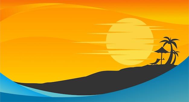 Летнее время фон с пляжем, пальмами и солнцем Premium векторы
