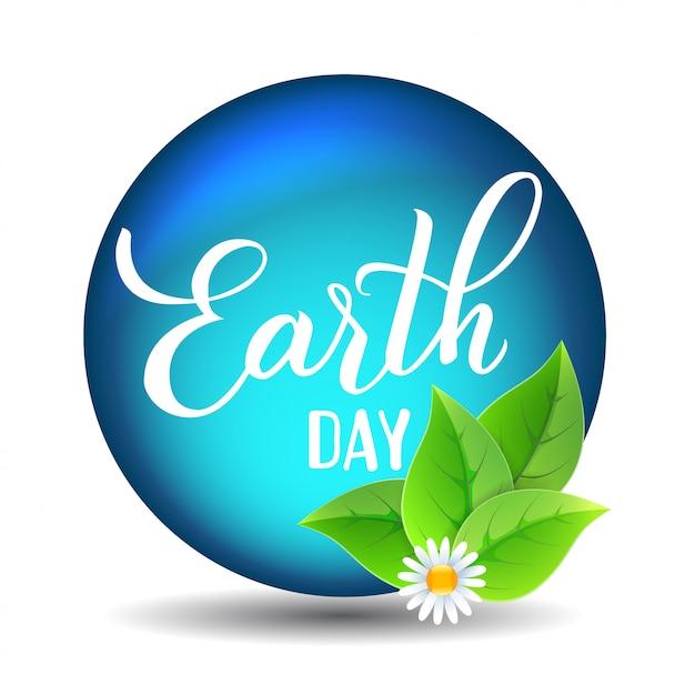 地球の日オリジナルの手描きのベクトル文字。 Premiumベクター