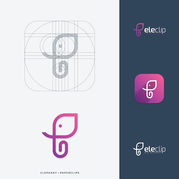 象のクリップのロゴデザインコンセプト。 Premiumベクター