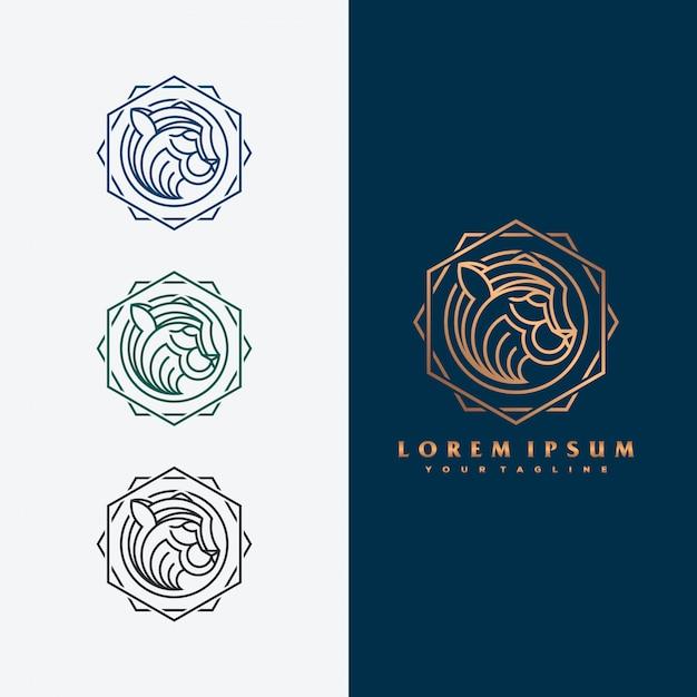 Роскошный тигр логотип иллюстрации концепции. Premium векторы
