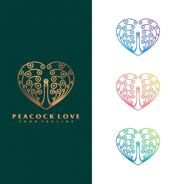 孔雀の愛のロゴのコンセプト。 Premiumベクター