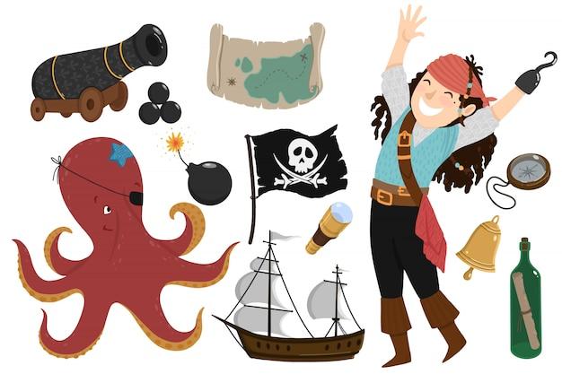 海賊漫画のスタイルの設定 Premiumベクター