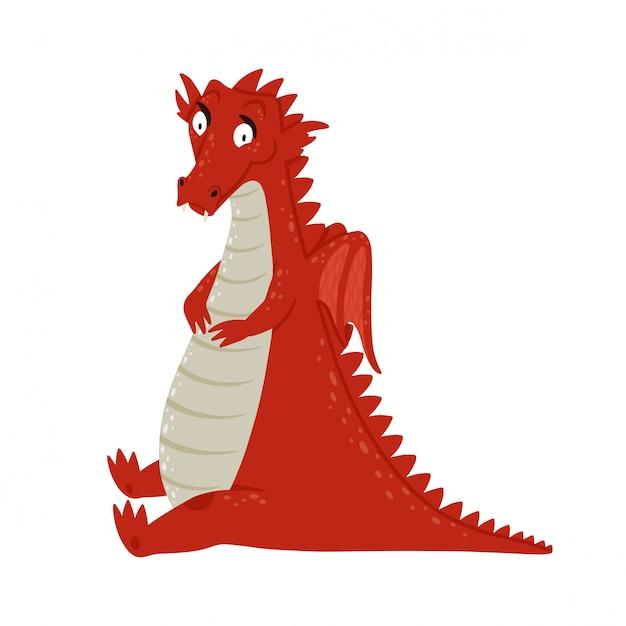 Милый мультфильм дракон Premium векторы