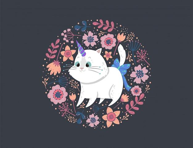 Фон с милый кот единорог, листья и цветы. Premium векторы