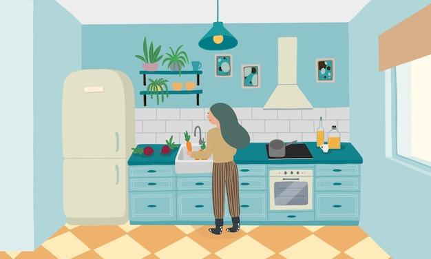家具付きキッチンインテリア Premiumベクター