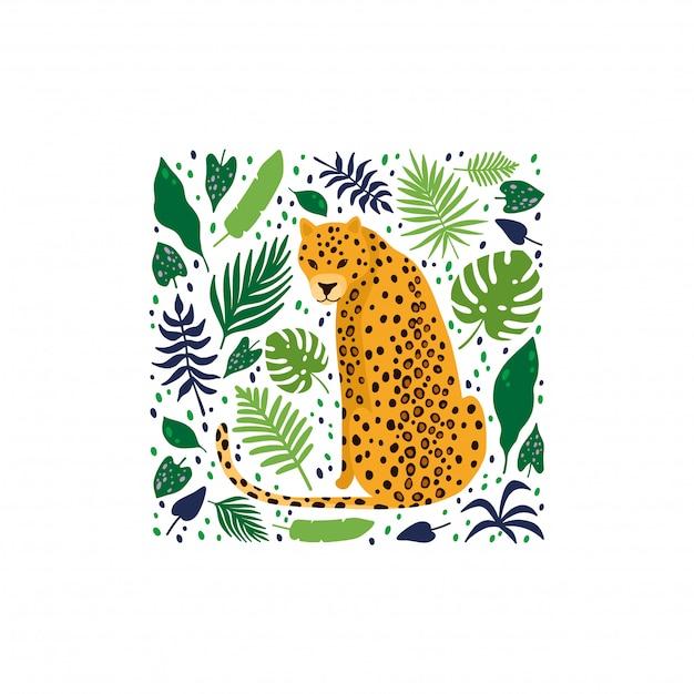 Леопарды в окружении тропических пальмовых листьев Premium векторы