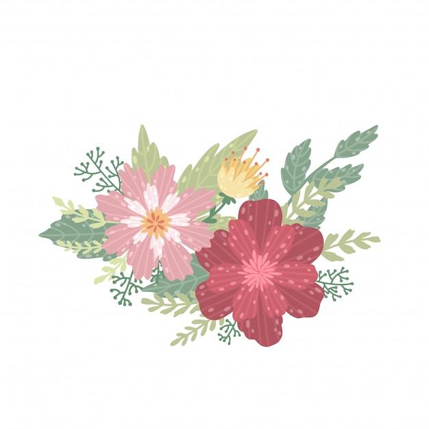 美しい花束のイラスト。白い背景の上の花。 Premiumベクター