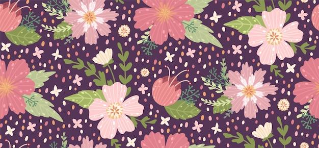 花を持つ美しい花柄。ファッションプリントの花柄シームレス背景。 Premiumベクター