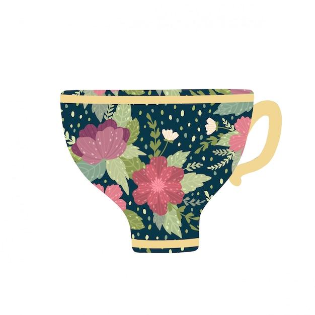 Красивое чашка с цветком и листья изолированные на белой предпосылке. Premium векторы