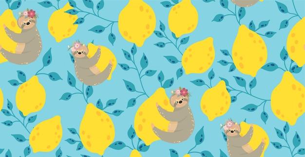 Симпатичные ленивцы на желтых лимонах. Premium векторы