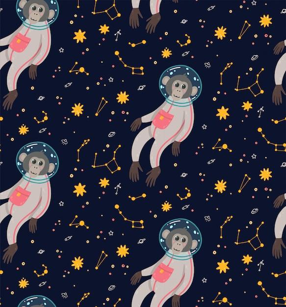 空間でかわいい猿とのシームレスなパターン。星に囲まれた宇宙の猿。 Premiumベクター
