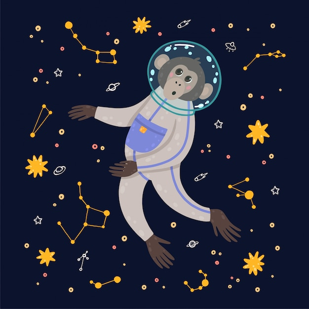 空間にかわいい猿。星に囲まれた宇宙の猿。 Premiumベクター