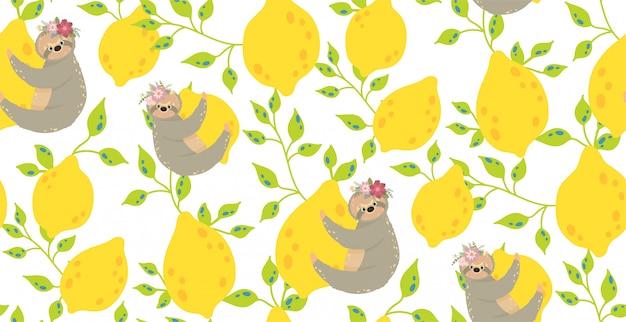 Симпатичные ленивцы на желтых лимонах. красивая иллюстрация бесшовные модели. Premium векторы