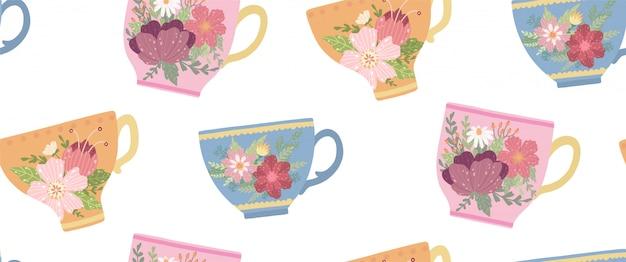 Красивая чашка с цветком и листьями бесшовные модели. элегантная векторная кружка. Premium векторы