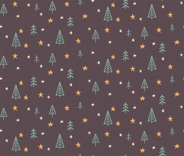 手には、クリスマスツリーと星のシームレスなパターン図が描かれました。子供のためのスカンジナビアスタイルのフラットなデザイン。 Premiumベクター