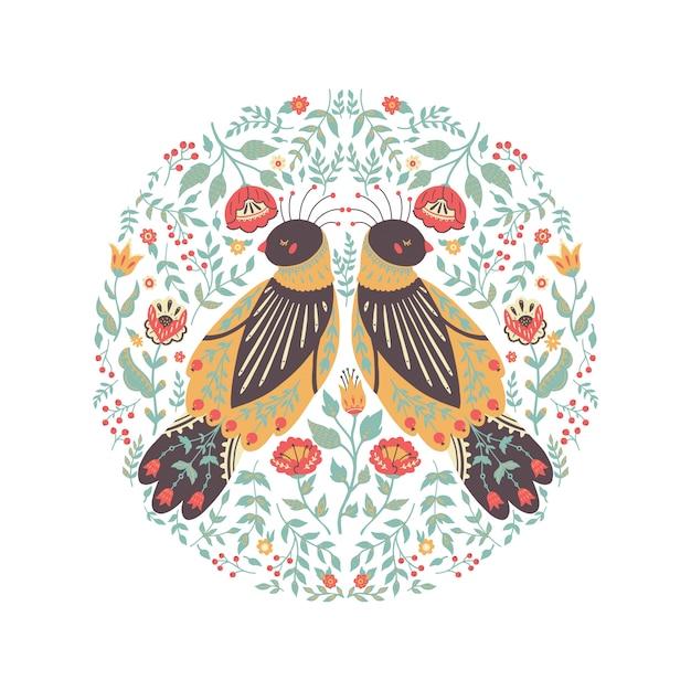 Иллюстрация искусства красивый цветочный венок с милой народной птицей. Premium векторы