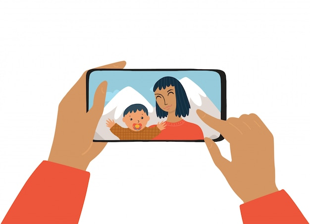 Женская рука держит смартфон. концепция фотографии, чата, видеозвонка. женщина и ребенок улыбается и принимает селфи. мать с сыном фотографируются на каникулах. Premium векторы