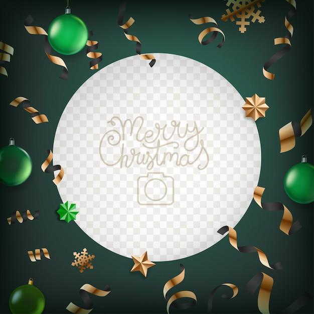 クリスマスの要素を持つフォトフレームベクトル。 Premiumベクター
