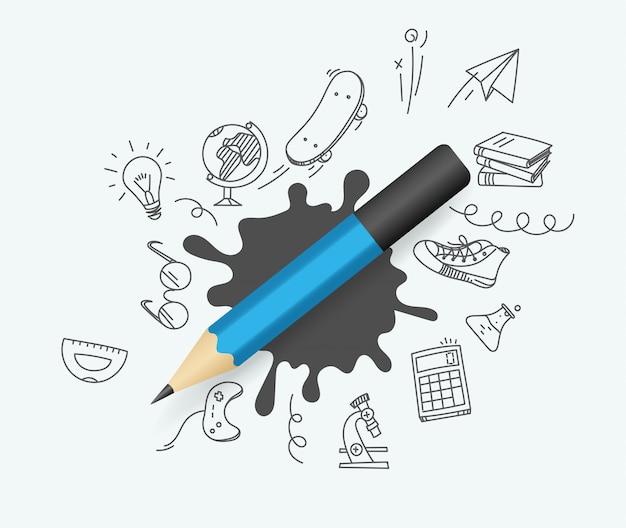 Синий карандаш с рисунками элементов Premium векторы