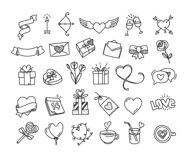 Счастливый день святого валентина каракули элементы стиля Premium векторы