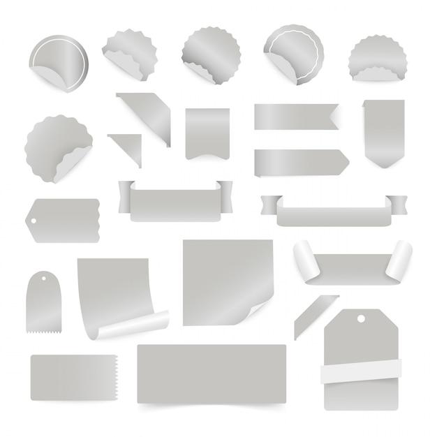 Бумажные наклейки и этикетки, изолированные на белом фоне. Premium векторы