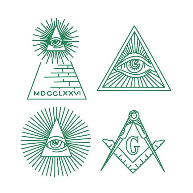 フリーメーソンのシンボルベクトルコレクション。全てを見える眼 Premiumベクター