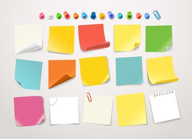 Различные цветные бумажные наклейки коллекции. Premium векторы