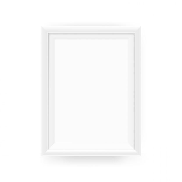 壁に現実的な空の白い額縁。白で隔離のベクトル図 Premiumベクター